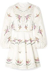 Zimmermann Allia Lace Trimmed Embroidered Linen And Cotton Blend Mini Dress Ivory