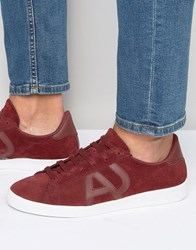 Armani Jeans Suede Logo Trainers Red