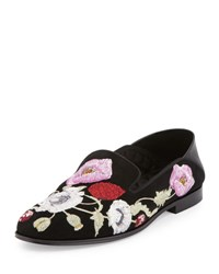 Alexander Mcqueen Flower Embroidered Suede Loafer Black Multi Black Multicockta