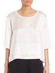 Public School Haley Silk Raw Edge Top Off White