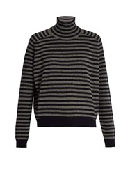 Vince Breton Striped High Neck Cashmere Sweater Grey Stripe