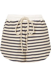 Bassike Striped Cotton Canvas Shorts Navy
