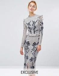 Hope And Ivy All Over Lace Midi Dress With Embroidery Light Grey