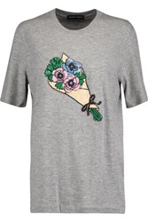 Markus Lupfer Flower Market Bouquet Sequin Embellished Cotton Blend T Shirt Gray