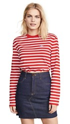 Maison Kitsune Tricolor Foxs Patch Marin Tee Red White