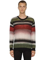Dsquared Striped Wool Blend Knit Sweater Multicolor