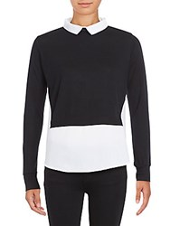 French Connection Fresh Mock Layered Jersey Top Black