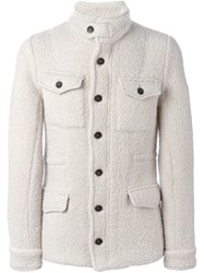Lardini High Collar Knit Jacket Nude And Neutrals
