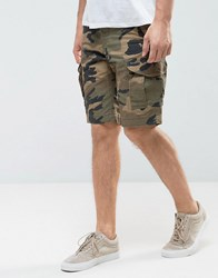 Jack And Jones Intelligence Cargo Shorts In Loose Fit In Camo Olive Night Green