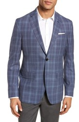 Ted Baker London Konan Trim Fit Plaid Wool Sport Coat Blue