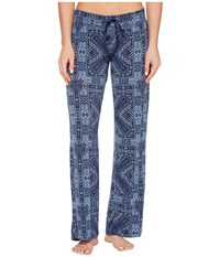 Pj Salvage Blue Batik Paisley Lounge Pants Navy Women's Casual Pants