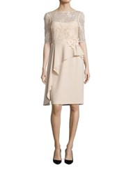 Rickie Freeman For Teri Jon Asymmetrical Peplum Sheath Dress Champagne