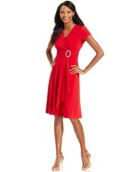 R And M Richards Short Sleeve Faux Wrap Dress Red