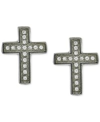 Macy's Men's Diamond Cross Stud Earrings 1 10 Ct. T.W. In Stainless Steel Silver