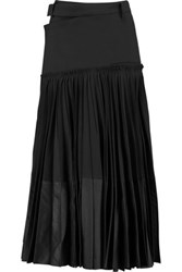 Haider Ackermann Paneled Pleated Stretch Wool Maxi Skirt Black