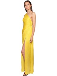 Maria Lucia Hohan One Shoulder Laminated Plisse Gown Yellow