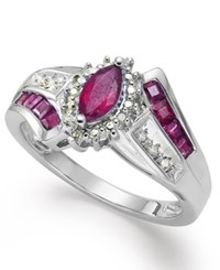 Macy's Gemstone 1 1 5 Ct. T.W. And Diamond Accent Ring In Sterling Silver