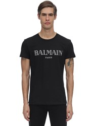 Balmain Printed Logo Cotton Jersey T Shirt Black