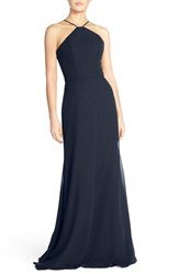 Women's Hayley Paige Occasions Strappy V Back Chiffon Halter Gown Indigo