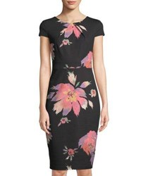 Jax Floral Print Short Sleeve Sheath Dress Black Pattern