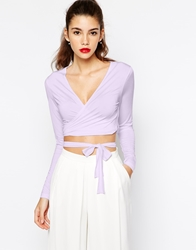 Love Wrap Front Jersey Top Lilac