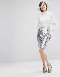 E.F.L.A Sequin Pencil Skirt With Frill Detail Silver