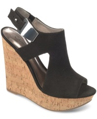 Carlos By Carlos Santana Malor Platform Wedge Sandals Women's Shoes Black