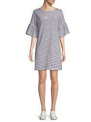 Beach Lunch Lounge Stripe Bell Sleeve Cotton T Shirt Dress Navy White