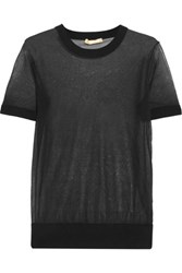 Michael Kors Collection Wool And Silk Blend Top Black