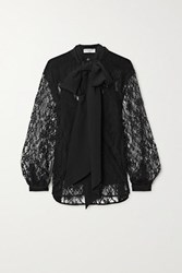Givenchy Pussy Bow Cotton Blend Lace And Silk Crepe De Chine Blouse Black