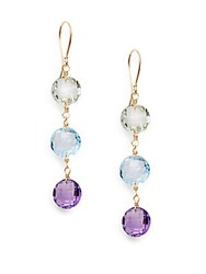 Saks Fifth Avenue Blue Topaz Purple Amethyst Green Amethyst And 14K Yellow Gold Drop Earrings Gold Multi
