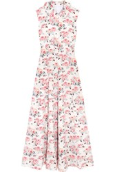 Emilia Wickstead Fabiola Floral Print Cloque Midi Dress Pink