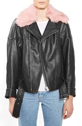 Topshop Women's Boutique Genuine Lamb Fur Collar Leather Jacket Black Pink
