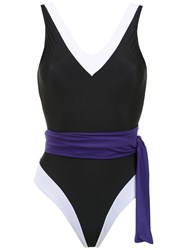 Brigitte Panelled Swimsuit Black