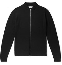 John Smedley Slim Fit Merino Wool Zip Up Cardigan Black