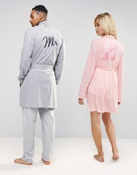 Asos Loungewear Dressing Gown With Mr Embroidery Grey Marl