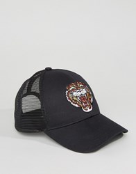 Asos Trucker Cap With Tiger Embroidery Black