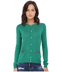 Dsquared Cardigan Sweater Green Off White Fuchsia Women's Sweater Blue