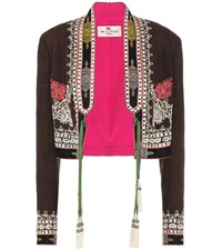 Etro Cropped Silk Jacket Brown