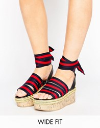 Asos Take Cover Wide Fit Tie Leg Flatform Wedges Stripe Multi