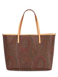 Etro Paisley Coated Cotton Tote Bag W Pouch Multicolor