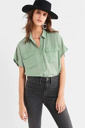 Urban Outfitters Uo Short Sleeve Pocket Button Down Shirt Mint