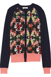 Erdem Dorothy Printed Georgette And Wool And Silk Blend Cardigan Midnight Blue