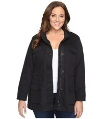 Lucky Brand Plus Size Core Military Jacket Black Beauty Women's Coat