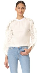 Msgm Ruffle Sleeve Long Sleeve Blouse White
