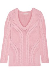 Maje Mafieux Cable Knit Cotton Blend Sweater Baby Pink