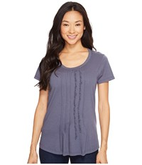 Dylan By True Grit Vintage Soft Cotton Pleated And Ruffle Short Sleeve Tee Vintage Navy Women's T Shirt Beige