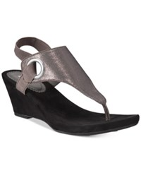White Mountain Aida Thong Wedge Sandals Women's Shoes Silver