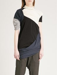 Drkshdw Branch Draped Cotton Jersey T Shirt Black White