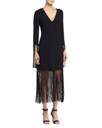 Michael Kors Long Sleeve V Neck Shift Dress W Fringe Black